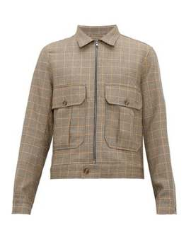 Safari Pocket Checked Wool Blend Jacket by King & Tuckfield