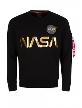Alpha Industries Black Nasa Gold Reflective Sweatshirt by Alpha Industries