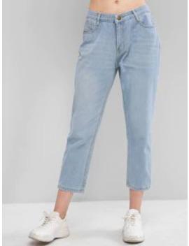 Zipper Fly Five Pockets Basic Jeans   Denim Blue S by Zaful