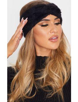 Black Eyelash Knit Twist Headband by Prettylittlething