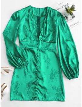 Satin Jacquard Lantern Sleeve Plunge Dress   Green L by Zaful
