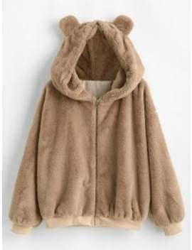 Salezaful Bear Ear Drop Shoulder Faux Fur Coat   Camel Brown Xl by Zaful