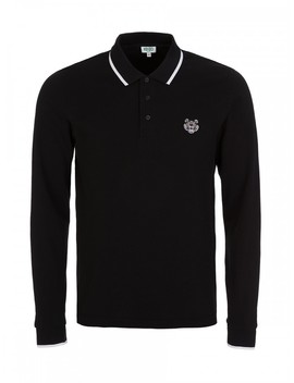 Kenzo Black Logo Long Sleeve Polo Shirt by Kenzo