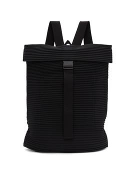 Black Pleats Flat Backpack by Homme PlissÉ Issey Miyake