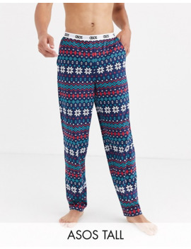 Asos Design Tall Christmas Lounge Pyjama Pants With Fairisle Print by Asos Design