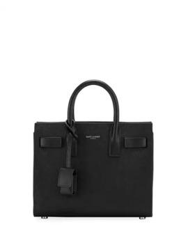 Sac De Jour Nano Grain De Poudre Tech Leather Satchel Bag by Saint Laurent