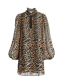 Georgette Leopard Mini Shirtdress by Ganni