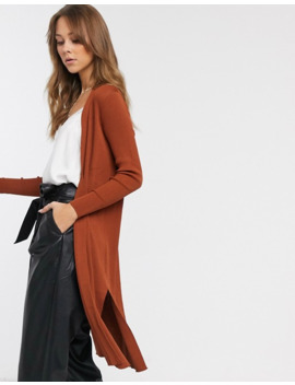 River Island Longline Cardigan In Camel by River Island