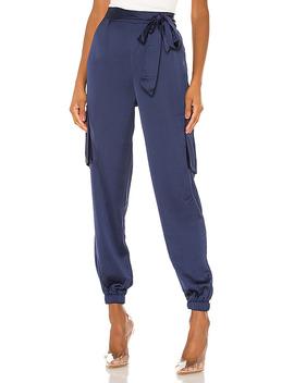 Rachel Satin Cargo Pants In Navy by Superdown
