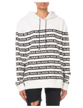 Oversized Logo Striped Hooded Sweatshirt by Balmain