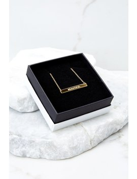 I Am Beautiful Gold Horizontal Bar Necklace by Lillian & Co