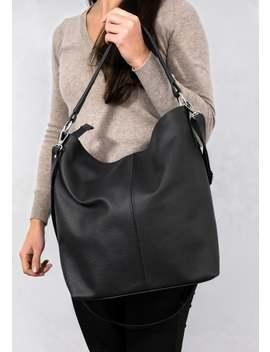 Leather Hobo Bag, Black Leather Handbag, Crossbody Bag, Everyday Tote Bag, Laptop Leather Shoulder Bag, Leather Bag, Hobo Bag, Gift by Etsy