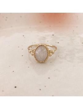 Gold Moonstone Ring, Dainty Gemstone Boho Ring Gift For Her, Bohemian Everyday Gold Plated Moon Stone Gem Ring by Etsy