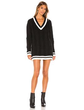 Shawnie Varsity Sweater Dress In Black & White by Superdown