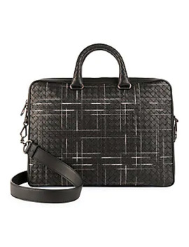 Multi Nero Leather Briefcase by Bottega Veneta