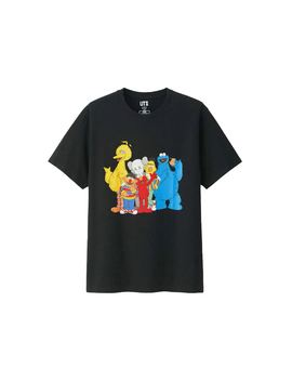 Kaws X Uniqlo X Sesame Street Group #2 Tee Black by Stock X