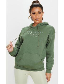 Prettylittlething Khaki Oversized Sports Hoodie by Prettylittlething