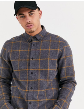 Only & Sons Window Pane Check Shirt In Dark Gray by Only & Sons