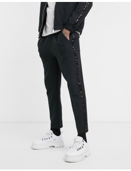 Boohoo Man Smart Jogger With Glitter Side Taping In Black by Boohoo Man