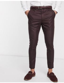 Selected Homme Skinny Fit Stretch Suit Pants In Burgundy Check by Selected Homme
