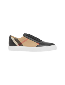 New Salmond Check Leather Sneakers by Burberry