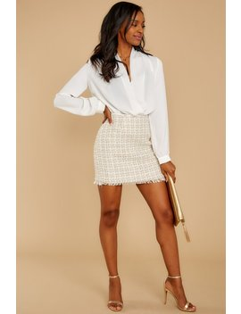 With A Statement Ivory Tweed Skirt by Just Me