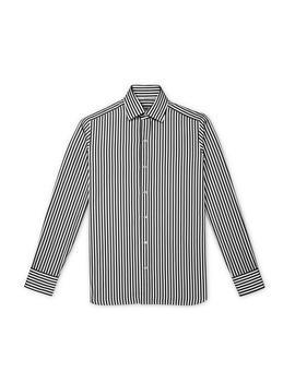 Black Summer Stripe Slim Fit Shirt by Tom Ford