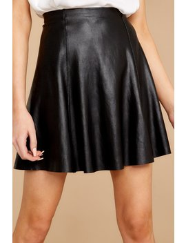 Black Faux Leather Skater Skirt by Spanx