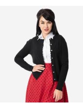 Vintage Style Black Scalloped Trim Knit Cardigan by Unique Vintage