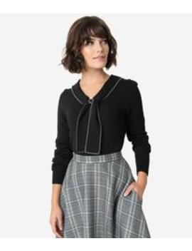 Hell Bunny Black Sailor Bow Connie Knit Sweater by Unique Vintage