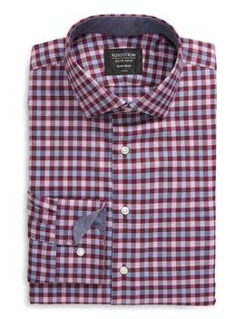 Trim Fit Non Iron Plaid Dress Shirt by Nordstrom Men's Shop