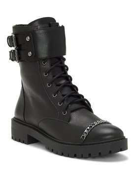 Kadrey Chain Trim Leather Buckle Banded Combat Boots by Jessica Simpson