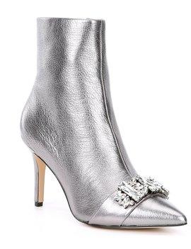Rika Metallic Leather Jewel Embellished Dress Booties by Karl Lagerfeld Paris