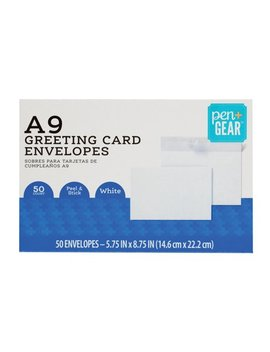 Pen+Gear A9 Greeting Card Envelopes With Peel & Stick Closure, White, (8 3/4 X 5 3/4) 50/Ct, (61784) by Pen+Gear