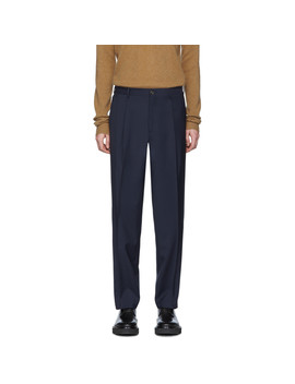 Navy Wool Tailored Trousers by Etro