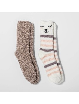 Women's Llama 2pk Cozy Crew Socks   Cream Stripe One Size by Target