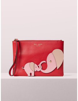 Appliqué Tiny Elephant Small Pouch Wristlet by Kate Spade