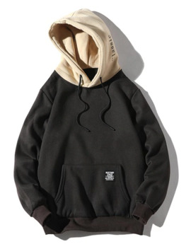 Color Blocking Letter Patch Detail Pouch Pocket Fleece Hoodie   Black M by Zaful