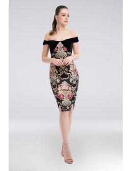 Metallic Jacquard Off The Shoulder Sheath Dress by Terani Couture