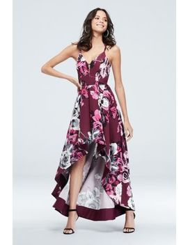 Floral Print Lace Back High Low Gown With Pockets by Speechless