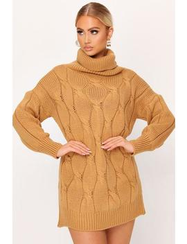 Camel Roll Neck Cable Knit Jumper by I Saw It First