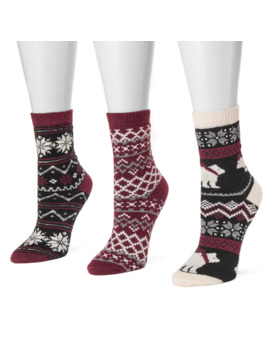 Women's Muk Luks 3 Pk. Printed Crew Socks by Muk Luks