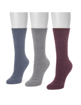 Women's Muk Luks 3 Pk. Crew Socks by Muk Luks