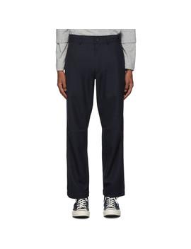 Navy Gabardine Workstitch Trousers by Comme Des GarÇons Shirt