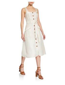 Bourey Linen Utility Midi Dress by Joie