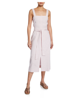 Belted Wide Strap Dress With Slits by Vince