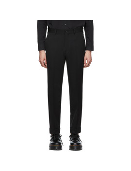 Black Creased Wool Gabardine Trousers by Comme Des GarÇons Homme Deux