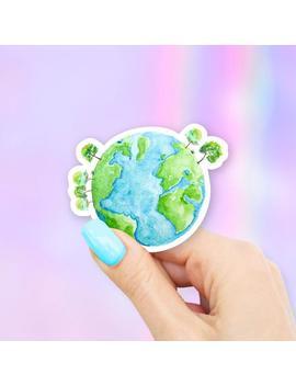 Watercolor Earth Sticker by Etsy