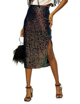 Sequin Split Midi Skirt by Topshop