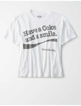 Tailgate Women's Coca Cola Cropped Graphic T Shirt by American Eagle Outfitters